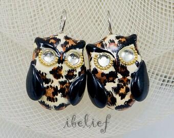 OWL earrings  Leopard