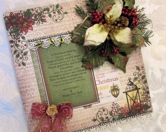 Handmade Christmas Wall Hanging Heartfelt Creations Scrapbook Holiday Wood Gift
