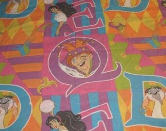 Vintage Disney Hunchback of Notre Dame Twin Flat Sheet - Esmerelda, Quasimodo - Blue, Purple, Orange