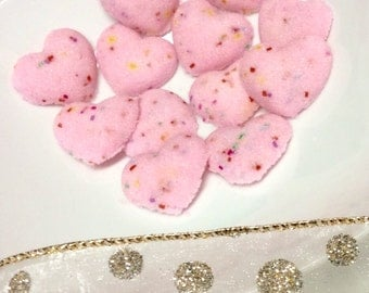 Rainbow Colored Sugar Cube Hearts VALENTINES Confetti Sugar Hearts for Tea Coffee Weddings Baby Showers and Party's