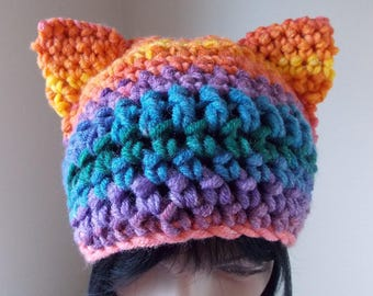 Rainbow Cat Hat, striped pussycat hat, bright colors crochet cap with ears, pride march hat, crochet pussy hat, presidential protest hat