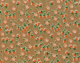 Reserved Cotton Fabric / Calico Fabric / Floral Cotton Fabric / Brown Floral Fabric / Brown Calico Fabric / Quilting Fabric