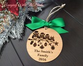 Personalized Family Ornament, Christmas Gift, Custom name ornament, Engraved family ornament, Owl family ornament, Engraved custom ornament