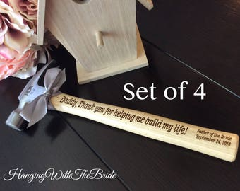 Set of 4 Customized Engraved Hammer, Personalized Hammer,Engraved Hammer, Father of the Bride Gift, Anniversary Gift, Father's Day gift