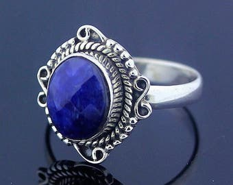 Handmade Unique Iolite Ring // 925 Sterling Silver Ring Size 7 Jewelry - R81