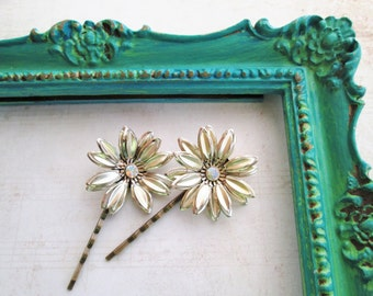 Repurposed/Upcycled Vintage Gold Layered Flower with AB Rhinestone Center Bobby Pins / Hair Pins / Hair Accessory / OOAK Art