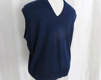 Vintage mens sweater vest sleeveless pullover, royal blue v neck