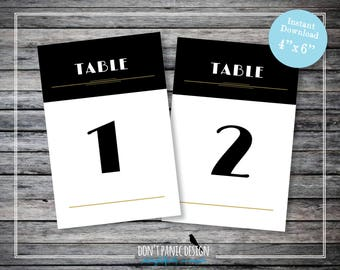 Art Deco Printable Table Numbers 1-30 - Black Gold Roaring 20's Wedding - Gatsby Wedding Reception - DIY Table Numbers - Instant Download