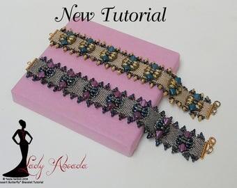 Peyote Stitch -  Embellished Bracelet - Super Duo Pattern - Silky beads - Jewelry  Instructions - Dessert Butterfly Bracelet