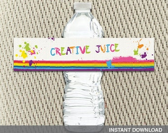 Water Bottle Labels- Art Party - Paint - Splatter - Rainbow - Happy Birthday - Instant Download - DIY Digital Decorations