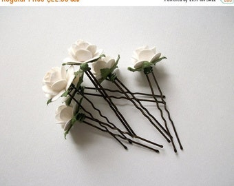 Almost Spring Sale White Flower Hair Pins Set Of Six Antique Bronze Pure Soft White Flower Bridal Hair Accessories For Wedding Vintage Simpl