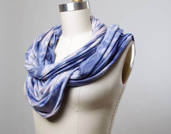 Hand Dyed  Scarf - Tie Dyed Scarf - Teal Blue Rayon Scarf - Women's Scarf - Tie Dyed