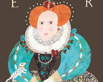 Queen Elizabeth I, Greeting Card, Tudors, Collage, History, Quirky, Geeky, Square Card, Elizabethan, England, Queen, Portrait, Historical