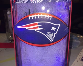 """New England patriots lighted glass block  approximately 6""""high"""