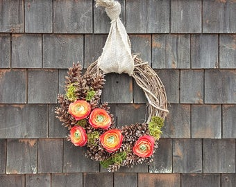 Spring Moss, Pinecone and Rununclus Wreath