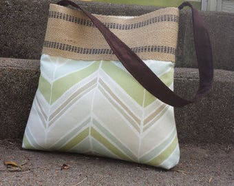 Seaglass Chevron Zig Zag Pleated Handbag Purse Tote Bag with Jute Webbing