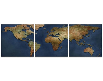 World Map Art '1800s World Map Triptych' by Ben Judd - Rustic Wall Decor Historic Artwork on Metal or Acrylic