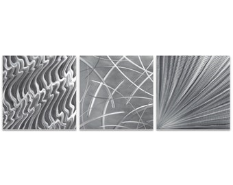 Metal Artwork 'Countless v2 Triptych Large' by Nicholas Yust - Modern Wall Decor Minimalist Design on Metal or Acrylic