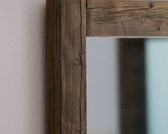 Rustic Wall Mirror - Large Wall Mirror - 28 x 34 Vanity Mirror - Bathroom Mirror - Rustic Mirror - Reclaimed Wood Mirror - Bathroom Vanity