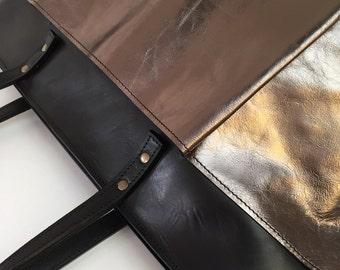 Tote bag 'Duotone' Black/Bronze - with zipper