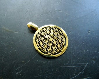 Flower of life, pendant, silver, gold-plated sacred geometry amulet, hand-sawn,