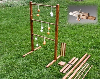 Ladderball Game - Wooden Pair Ladder Ball Yard Games wedding reception party game lawn game bola ball golf ball bolas ladder toss beach toys