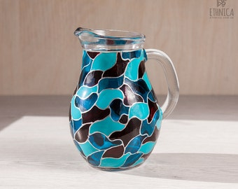 Blue waves, small hand painted glass pitcher