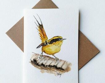 ORIGINAL Thorn-tailed Rayadito Watercolor Card/ Thorn-tailed Rayadito Artwork/ Bird Watercolor