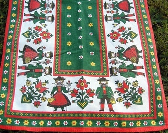 Vintage Bulgarian Table Runner, Mid Century Table Runner Boys Girls Flowers from Bulgaria, 1970s Table Decoration, Red Green Table Topper