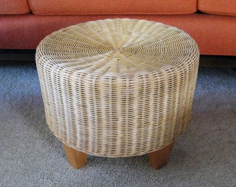 Mid Century Modern wicker foot stool hassock ottoman side table bamboo reed woven bentwood architectural vintage patio