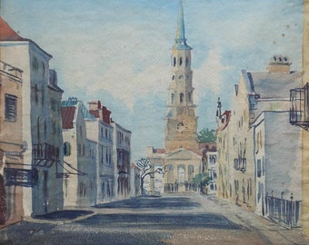 vintage watercolor  study of church and buildings