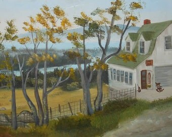 vintage oil painting Maine penobscot bay house shop signed
