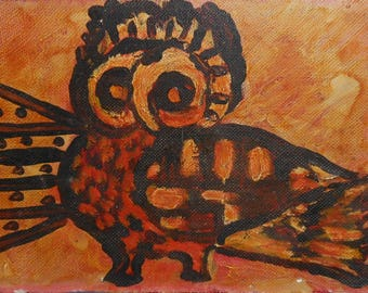 vintage abstract oil painting of owl