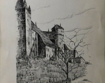 vintage ink drawing of castle trees people signed