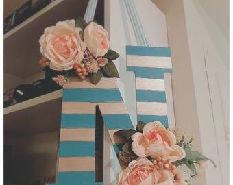 Monogram Door Hanger with Floral Accents