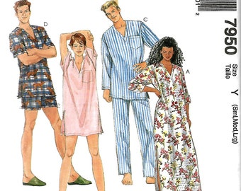 McCall's 7950 Misses And Men's 1 Hour Sleepwear Pattern, Nightshirt And Pajamas, S-M-L, Uncut