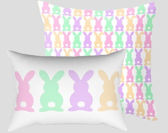 Easter Bunny Throw Pillow / Cover - Bunny Butts, Rabbit - 8 Sizes - 2 Styles - Square, Rectangle