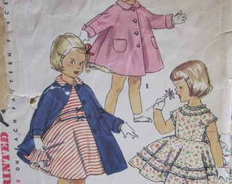 Size 4, Simplicity 1024,  full circle skirt dress, lace or bias trim, bows, and coat with cuffed kimono sleeves, detachable collar 1950's