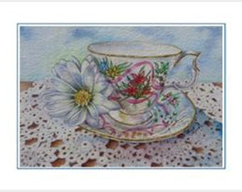 Forever Yours 6 Blank Frameable Teacup Notecards Party Favors