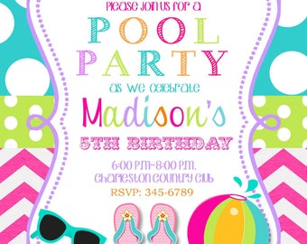 12 Pool Party invitations with envelopes-swim paty- swimming party-any colors