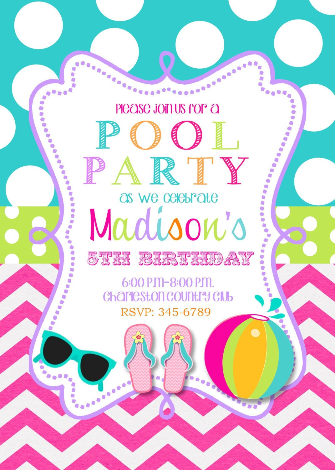 12 Pool Party invitations with envelopes-swim paty swimming