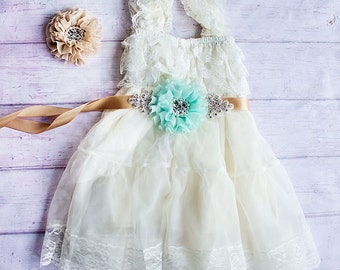 Ivory Lace Flower Girl dress, Rustic Flower Girl Dress, Country Flower Girl Dress, Cowboy Flower Girl Dress, Flower Girl Outfit