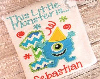 Monster Embroidered Birthday Shirt Applique