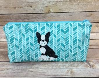 Boston Terrier Zipper Bag Makeup Bag Boston Terrier Dog Medium Zip Bag Cosmetic Bag Travel Bag