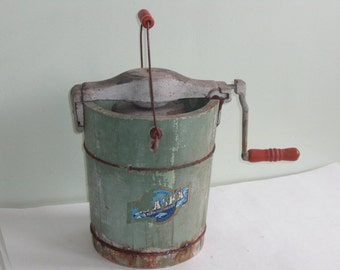 Vintage Alaska Ice Cream Maker Green Wood Bucket Red Wood Handles
