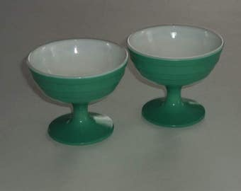 2 Vintage Moderntone Platonite Green Sherbets White Inside