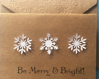 Snowflake Cards, Christmas Card, Be Merry & Bright Cards, Holiday Cards, Christmas Snowflake Stationery Set, Christmas Greeting Cards