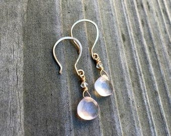 Faceted rose quartz briolette earrings with hand forged 14kt yellow gold French hooks and Swarovski crystal unconditional love gift for her