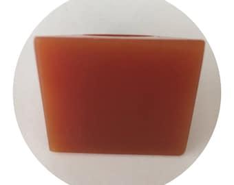 Burnt Orange Square Parlour Resin Statement Unisex Ring Handmade Chunky Size 9