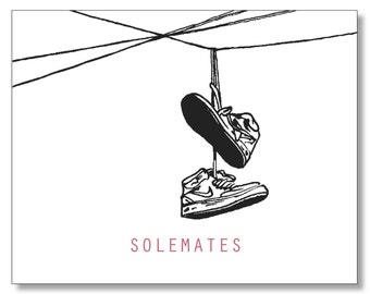Nike Sneaker Card. Soulmate Card. SHOES on a WIRE Nike Card. NIKE'S. I Love You Card. Valentine Card for Guys. We're Two of a Kind
